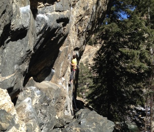 Starting the entry moves of Squeeze Play 5.13b/c just before sending...