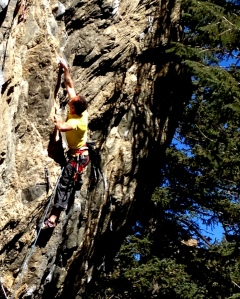 The crux of Squeeze Play 5.13b/c which I sent yesterday on a gorgeous February Day!