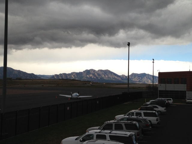The full 8 mile panoramic view of the Flatirons sport climbing venue taken from Rocky Mountain International Airport