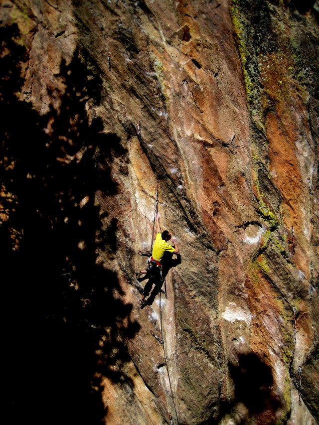 Shaking mid route before sending my first 5.13d...